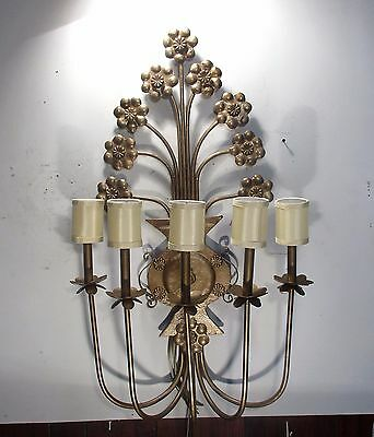 Antique Vintage Sconce Large 5 Light Ornate Light Floral Unique 4