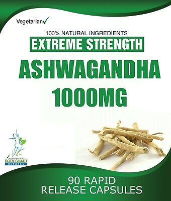 90 ASHWAGANDHA CAPSULES DAILY DOSE 2000mg STRESS FATIGUE ANXIETY RELIEF 3
