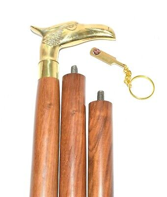 Eagle Head Handle Solid Brass Vintage Style Victorian Wooden Walking Stick Cane 4