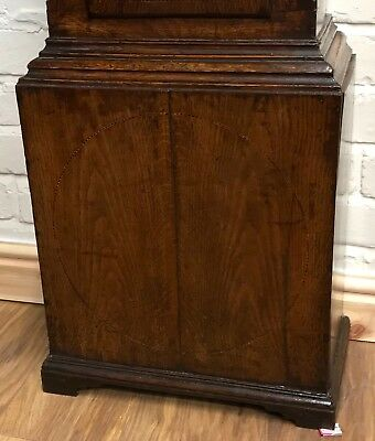* Antique Somerset 8 DAY Inlaid Oak Grandfather Longcase Clock SULLEY of STOWEY 4