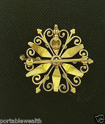 Pearl Diamond Flower Brooch Pin Pendant  14K Yellow Gold Vintage