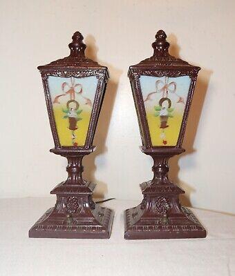 pair of antique vintage ornate reverse painted glass metal table boudoir lamps 2