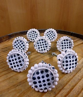 8 WHITE BLACK DOT FLOWER GLASS DRAWER CABINET PULLS KNOBS VINTAGE chic hardware