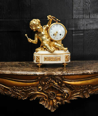 ORMOLU & WHITE MARBLE ANTIQUE FRENCH CLOCK PUTTO in CLOUDS PLAYING a DRUM C1880 6