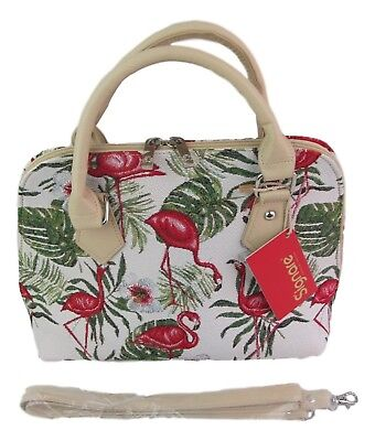 Morning Garden Flower Design Medium Sized Tapestry Expandable Handbag-Shoulder