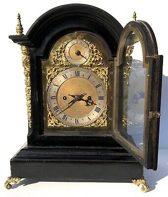 Antique Winterhalder & Hofmeier Ebonised Double / Twin Fusee Bracket Clock 3