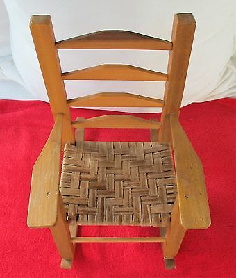 ... Ladder Back Wood Doll Rocking Chair With Woven Seat