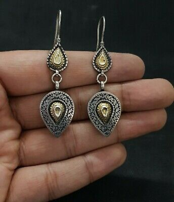Wonderful Silver And Gold Gilded Unique Design Rare Beautiful Earring #O12 4