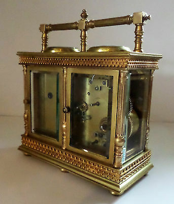 Antique French Double Carriage Clock Barometer / Alarm  / Compass Set 7