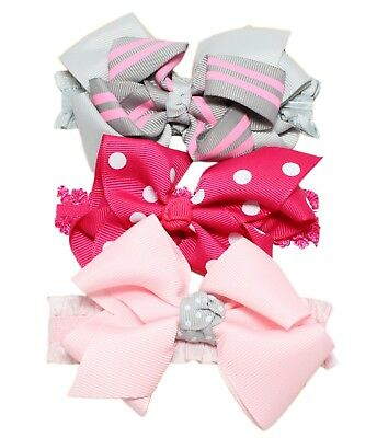 3pc Baby Girl Elastic Headbands 0/3/6/9/12/18/24 Months Pink Lilac Bow Flower 2