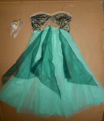 NWT LYRICAL BALLET DANCE COSTUME ch//Ad Chiffon Flyers Gold Braid Green clearstrp
