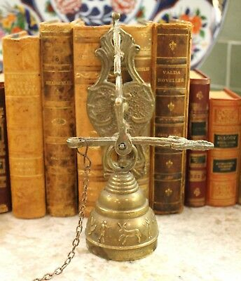 Antique English Brass Shop Bell Church Sanctuary Garden Gate Dinner Bell PETITE