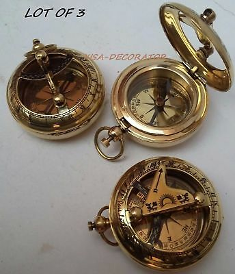 Lot Of 3 Collectible Vintage Maritime Brass Push Button Sundial Pocket Compass 2