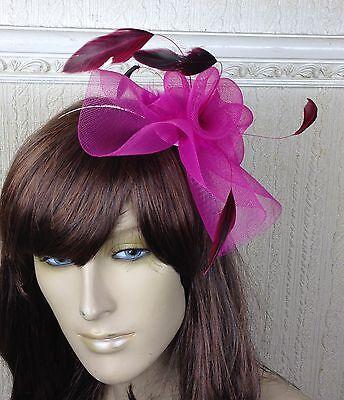 cerise pink feather hair headband fascinator millinery wedding hat ascot race 1 3