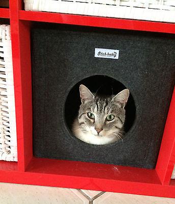 Katzenbett Katzenhöhle aus Filz dunkelgrau u. a. passend für Ikea Expedit Kallax 2