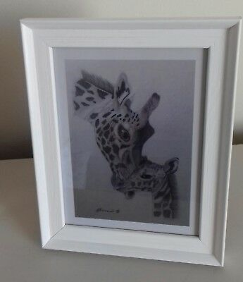 GIRAFFE & CALF PICTURE Unique A5 print of Original Art Drawing Gift WILD ANIMAL 2