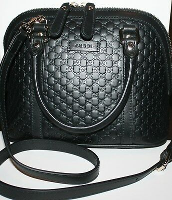 5f1debd05135 ... Nwt Gucci Micro Guccissima Gg Dome Black Leather Handbag W/ Shoulder  Strap 3