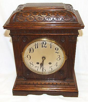 Antique LENZKIRCH Carved Oak Bracket Clock : CLEANED AND SERVICED 2