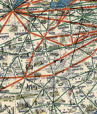 American Airlines System Map Route of the Flagships Wall Art Print Poster Decor