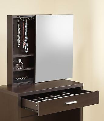 1 Of 2free Shipping Coaster Vanity With Hidden Mirror Storage And Lift Top Stool Cuccino 300289