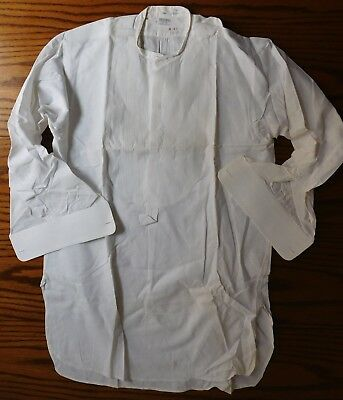 Rialbo starched tunic dress shirt Pin tuck front Size 15.25 vintage early 1900s 2