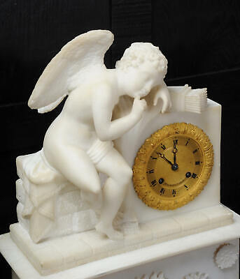 Early Antique French Alabaster Clock Set Cupid Menacing Love C1820 5