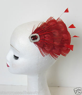 Red Peacock Feather Vintage Fascinator 1920s 1940s Races Hair Clip Art Deco P62 3