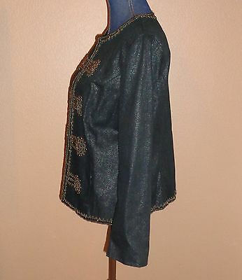 Chico's Embellished Military Glam Napoleon Black Cotton Jacket Size 2 (L) RARE!! 3