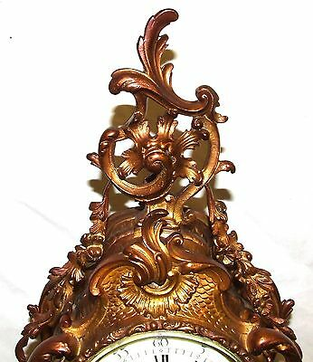 French Antique Louis XV Style Ormolu Bronze Mantel Bracket Clock c1880 4