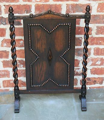 Antique English Dark Oak Jacobean Barley Twist  Hearth Fireplace Screen 11