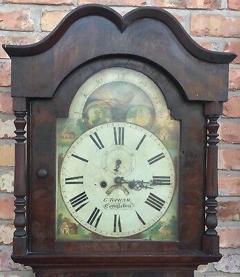Antique Mahogany Rolling Moon Longcase Grandfather Clock G TOPHAM Congleton 2