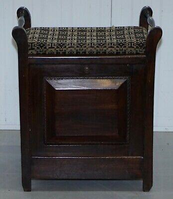 Victorian Mahogany Piano Stool Bauhaus Upholstery Internal Music Storage Drawer 2
