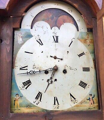 Antique Oak and Mahogany Rolling Moon Longcase Grandfather Clock 7
