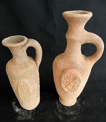 2 pcs. Biblical Antique Jugs Holy Land Jerusalem Clay Pottery Menorah David Star 4
