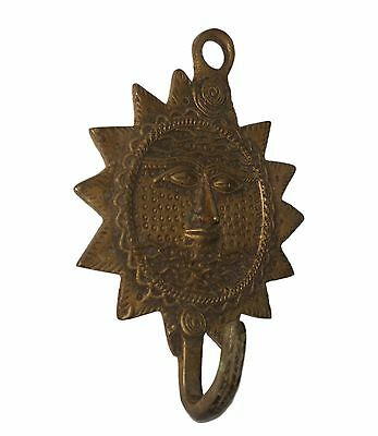 An Old Brass made Unique LORD SURYA SUN SHAPE COAT HOOK KEY HANGER from India 3