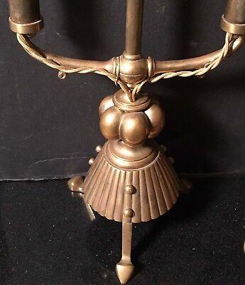 Pair Antique Eng Brass c1884 Arts Crafts Dbl Candelabra Lamp W&AC Russell Tripod 2