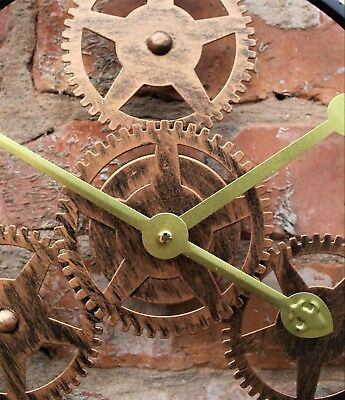 Large Metal Skeleton Wall Clock Antique gold Home Decor Round 58cm Indoor & Out 7