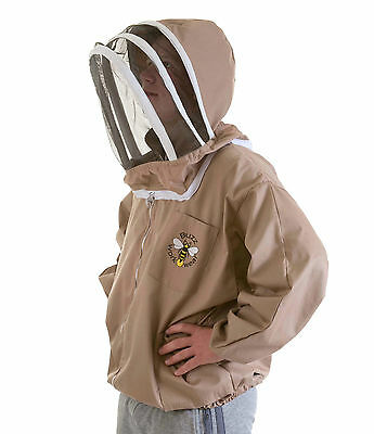 BUZZ Beekeepers BEE JACKET, Cappuccino with fencing hood CHILDREN'S LARGE (XS) 2