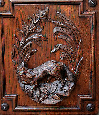 Antique French Oak Black Forest FOX Architectural Hanging Wall Panel Door #1 2