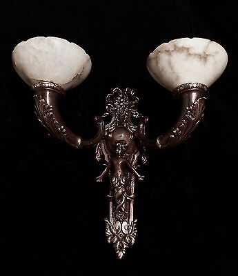 HUGE Pair of XL wall lights bronze & real alabaster cherub smade in America 5