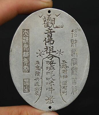 """1.9/"""" Chinese Miao Silver Ksitigarbha Boddhisattva Kwan-yin Head Amulet Pendant"""
