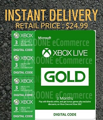 Microsoft Xbox Live 3 Month Gold Membership ⚡⚡INSTANT DELIVERY, RETAIL $24.99⚡⚡ 3