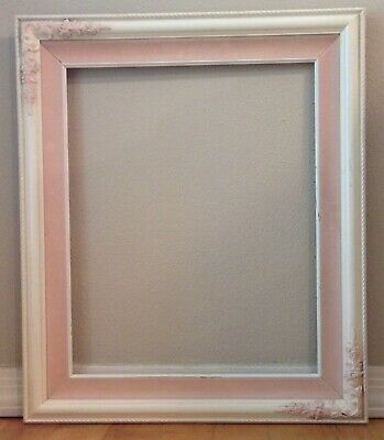 "Vintage Wooden Picture Frame Ornate Corners Shabby Chic 25.5"" x 21.5"" Pink White 2"