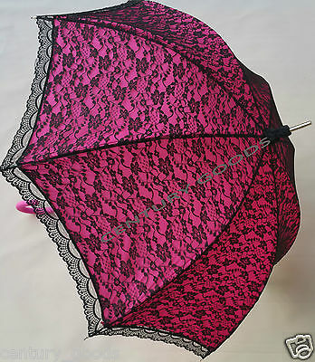 Retro Victorian Lace Bridal/Wedding Umbrella  Parasol In Fuchsia/Pink 5