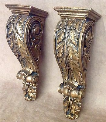 Shelf Acanthus leaf Wall Corbel Sconce Bracket Home Decor Pair Bronze Finish 2