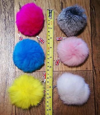 Unique 8cm Real Rabbit Fur Keyring Craft Bag Pompom Unusual Celeb Trend Pom Kit 3