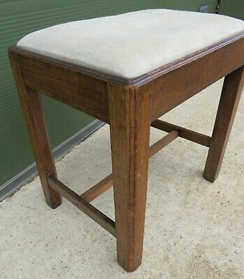 Antique Georgian Oak Footstool Stool with Upholstered Top 5