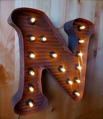 """LG BROWN VINTAGE STYLE LIGHT UP MARQUEE LETTER N, 24"""" TALL novelty metal sign 3"""