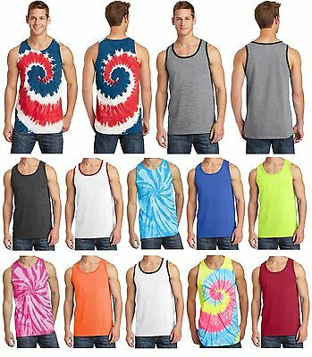 New Men's Tank Top Muscle Workout T-Shirt Tie Dye Dyed Died Two Tone Sleeveless 3