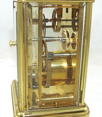 ENGLISH GARRARD & CO LONDON W1 Brass Carriage Mantel Clock & Key : Working (58) 10